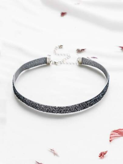 Glitter Choker With Silver Metal Chain