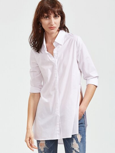 Blanc Slit Side Curved High Low Hem Shirt
