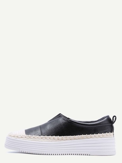 Black And White Woven Detail Slip-On PU Sneakers