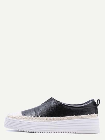 Bianco e nero tessuto Dettaglio Slip-On PU scarpe da tennis