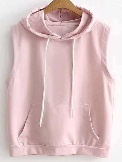 Pink Drawstring Hooded Vest With Pocket