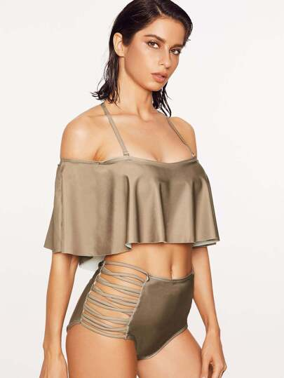 Coffee Criss Cross Detail Ruffle High Waist Bikini Set