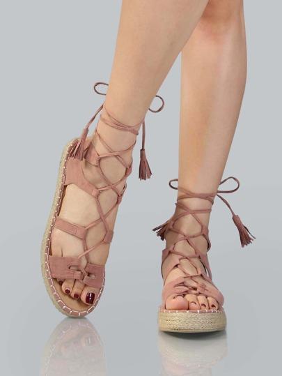 Faux Suede Espadrille Flatform Sandals MAUVE
