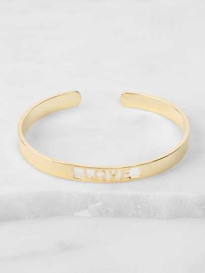 Cut Out Metallic Love Bangle GOLD