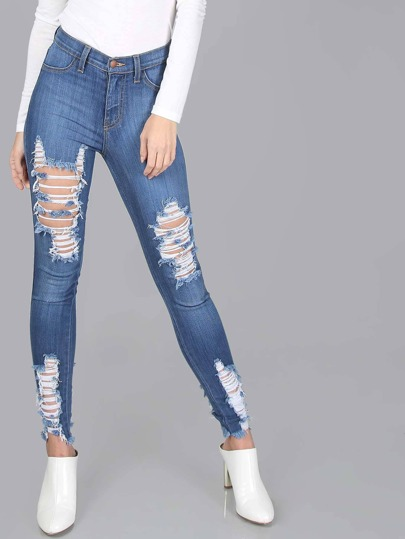 Super Skinny Distressed Jeans MEDIUM STONE