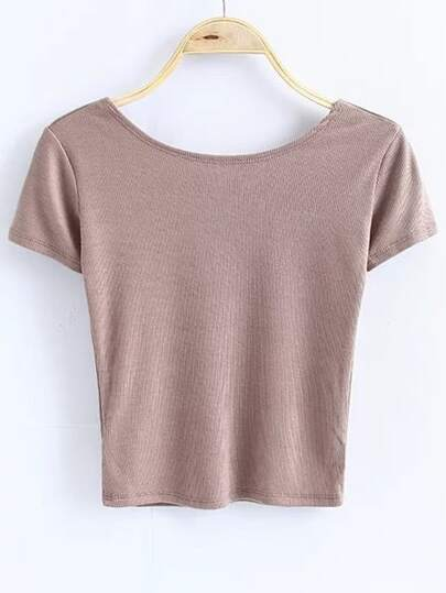 Khaki Low Back Short Sleeve T-Shirt