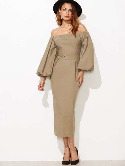 Khaki Off The Shoulder Lantern Sleeve Pencil Dress