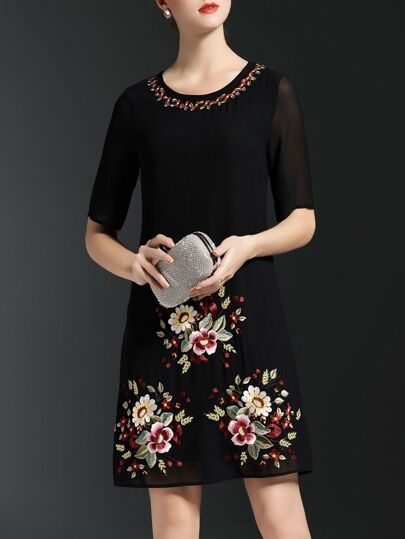 Black Flowers Embroidered Shift Dress
