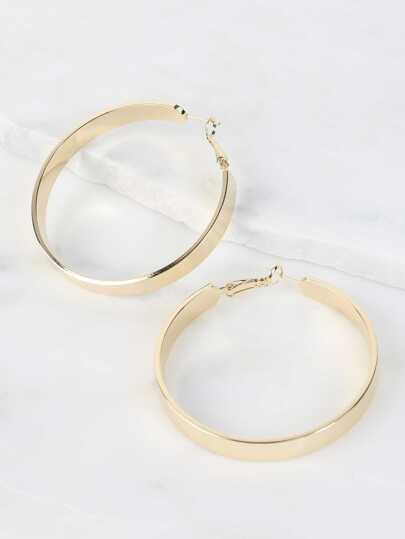 Medium Size Thick Hoop Earrings GOLD