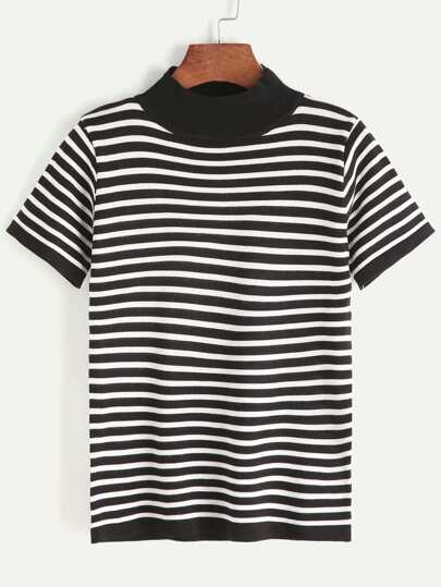 Contrast Striped Mock Neck Knit T-shirt