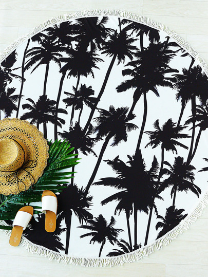 Black Coconut Tree Print Fringe Trim Round Beach Blanket
