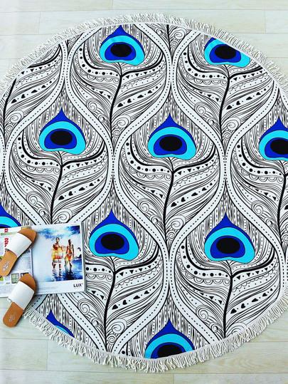 Feather Print Fringe Detail Round Beach Blanket