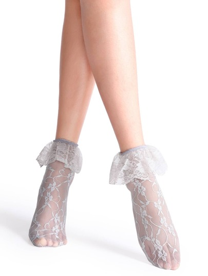 Grey Frilly Floral Lace Socks