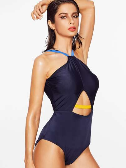Navy Open Back Halter One-Piece Swimwear