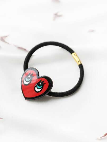 Red Eyes Print Heart Shape Hair Tie