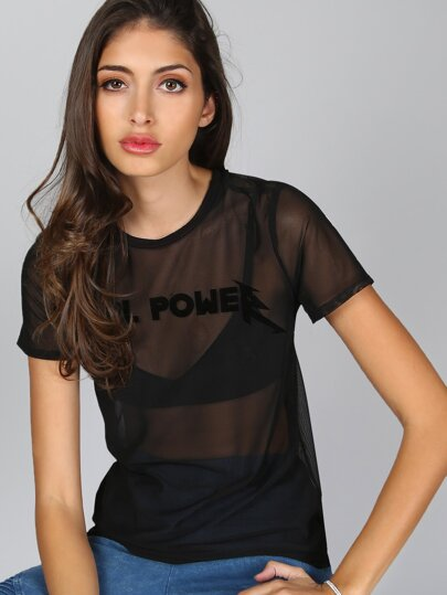 Mesh Girl Power Tee BLACK
