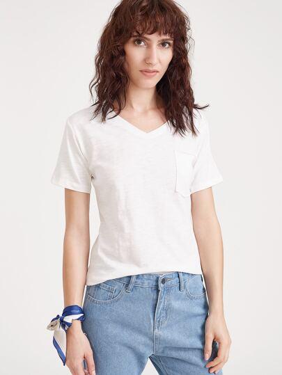 Bianco con scollo a V tasca T-shirt