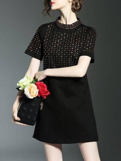 Black Beading Shift Temperament Dress