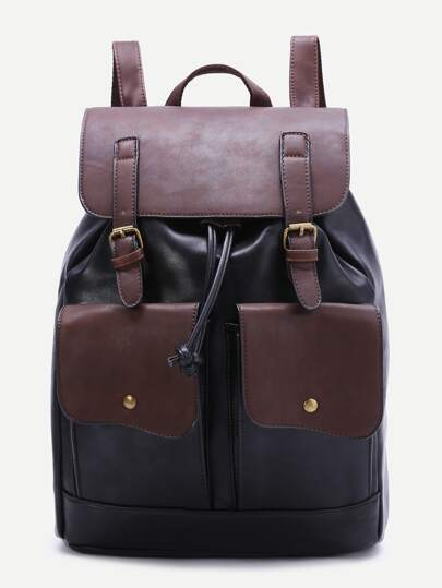 Black And Coffee Drawstring Backpack With Front Pocket