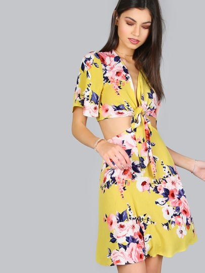Floral Cut Out Tie Dress YELLOW