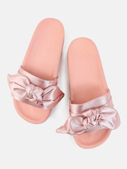 Open Toe Satin Slide Sandals BLUSH