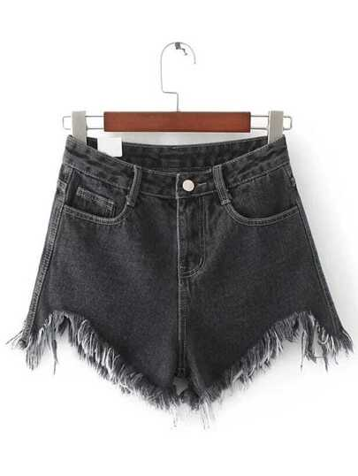 Black Raw Hem Denim Shorts