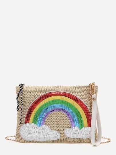 khaki pailletten verziert - kette sack regenbogen
