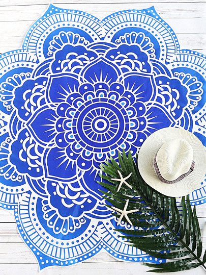 Blue Printed Lotus Flower Shape Beach Blanket