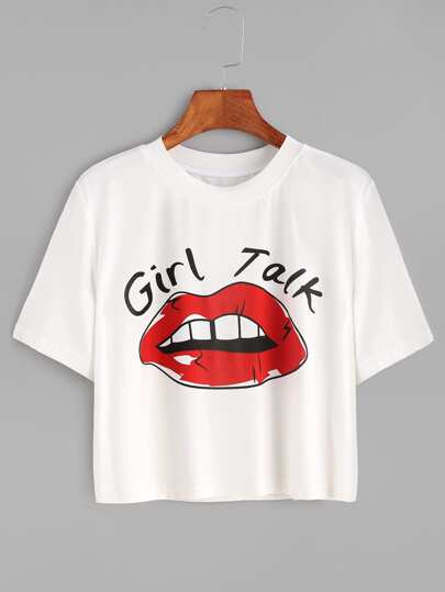 t-shirt court avec le rouge à lèvres imprimé - blanc