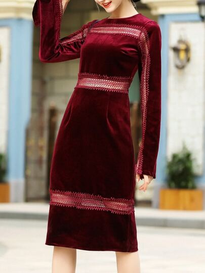 Burgundy Mesh Velvet Sheath Dress