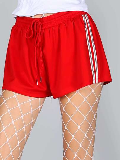 Elastic Side Stripe Shorts RED