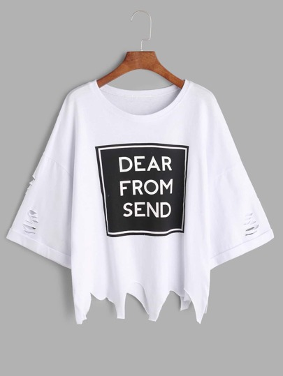White Slogan Print Ripped Cuffed Asymmetric T-shirt