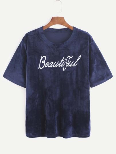 Navy Letter Embroidered Velvet T-shirt
