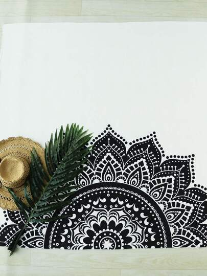 Black And White Half Floral Print Beach Blanket