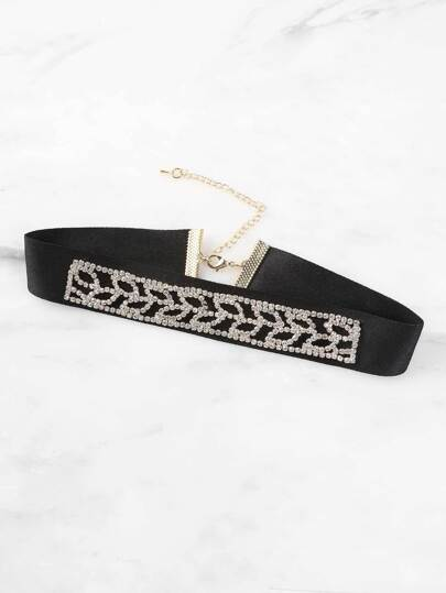 Faux Suede Rhinestone Necklace BLACK