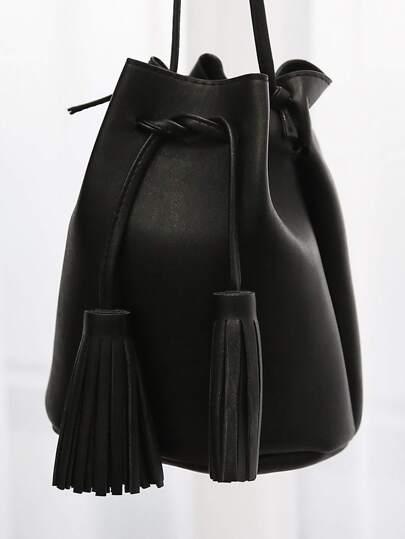 Fringe Tie Mini Bucket Bag BLACK