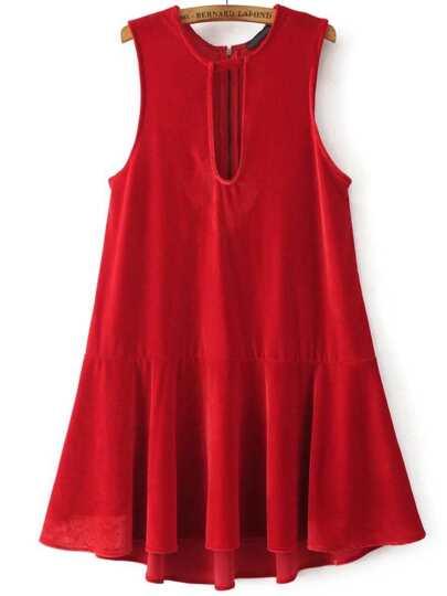 Red Keyhole Zipper Back Drop Waist Velvet Dress