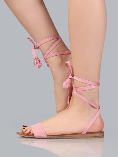 Pastel Lace Up Sandals PINK