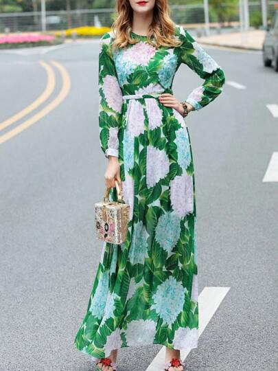 Green Flowers Print Sequined Maxi Dress