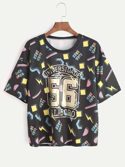 Nero stampato goccia spalla T-shirt