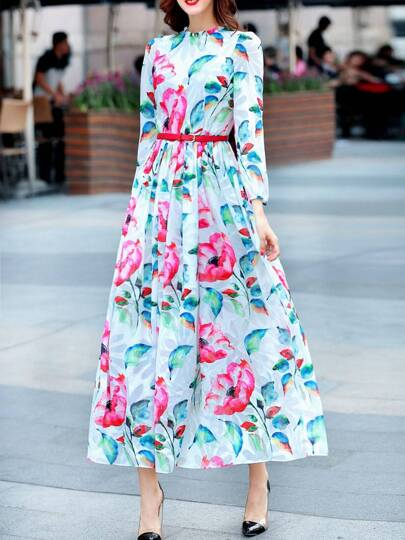 White Flowers Print Belted Maxi Dress