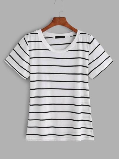 Weißes kurzes Hülsen-gestreiftes T-Shirt