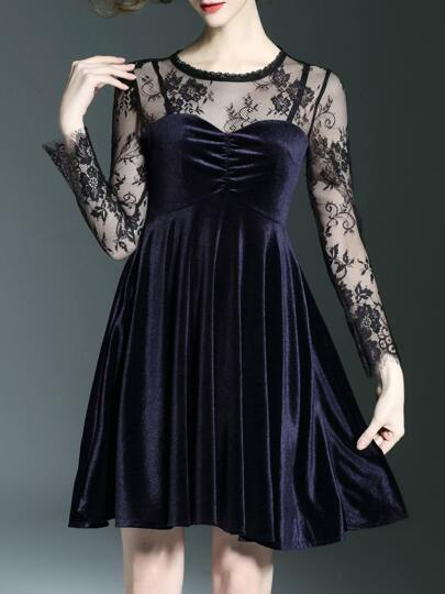Black Contrast Lace Velvet Dress