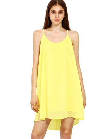 Spaghetti Strap Hollow Shift Neon Yellow Braces Sun Slip Dresses