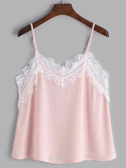 Pink Contrast Eyelash Lace Trim Cami Top