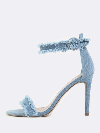 Frayed Single Sole Denim Heels BLUE DENIM