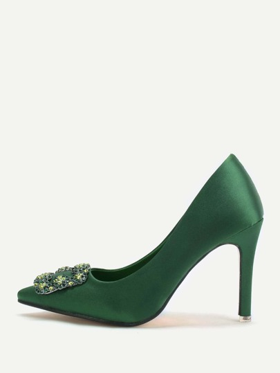 Point Flower Crystal Green Heels Toe raso