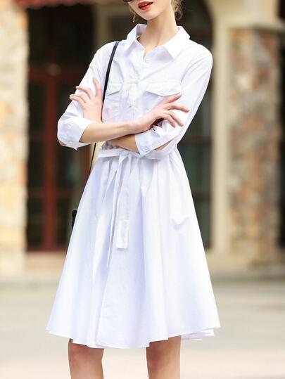 White Lapel Pockets Tie-Waist Dress
