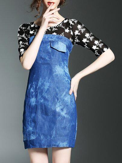Blue Disc Flowers Denim Combo Dress