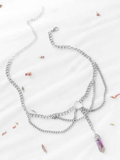 Silver Metal Purple Pendant Necklace